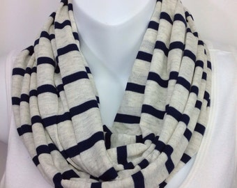 Oatmeal cream and navy blue striped infinity scarf