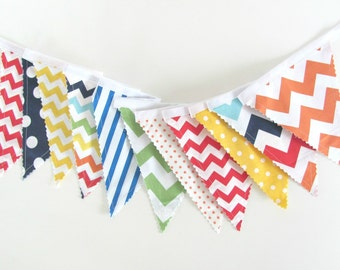 Carnival Fabric Banner, Primary Color Bunting Chevron Dots - Birthday Party Decor, Baby Nursery, Baby Shower, Circus Playroom Decor