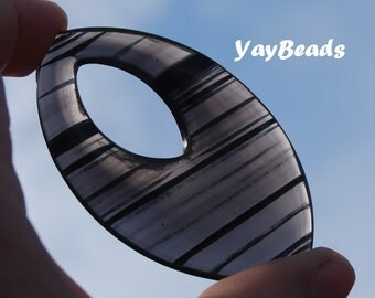 Rare Banded Obsidian Marquise Donut Cabochon Large Cab