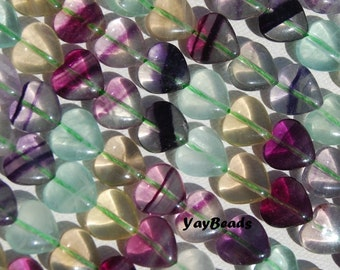 Fluorite Heart Beads 10mm Natural Purple Green Striped Qty10 pieces