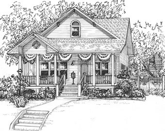 "Custom ink house drawing  8""x 10"" portrait of your vacation home, portrait hand drawn from your photos, architectural sketch"