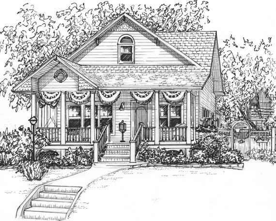 Custom ink house drawing 8x 10 portrait of your for House sketches from photos