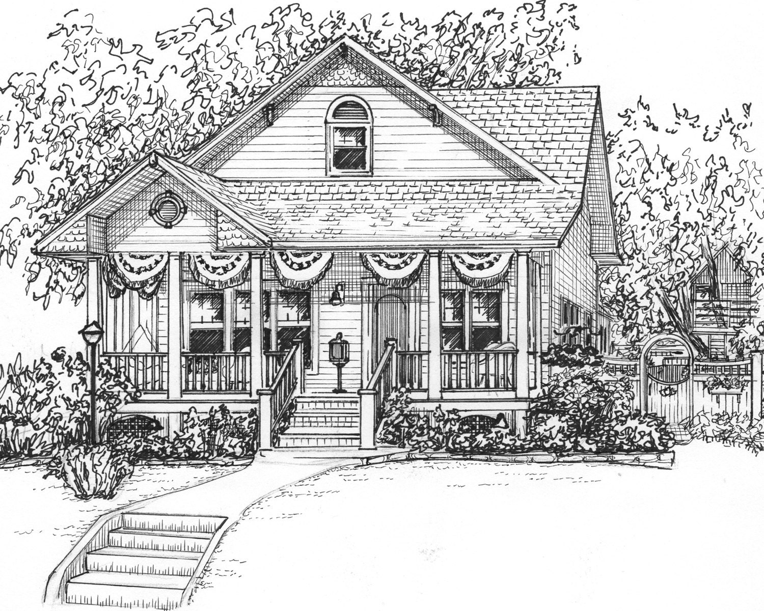Custom ink house drawing 8x 10 portrait of your for Architectural drawings of houses