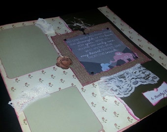 1 12x12 Premade Scrapbook Page Layout Vintage Pink Pregnancy Baby Girl or Baby Boy
