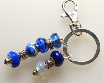Classy Blue Beaded Key Ring With Moonstone