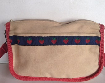 Vintage canvas strawberry bag purse