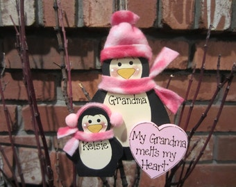 Personalized Penguins: My Grandma Melts My Heart Ornament
