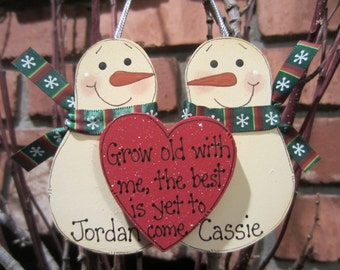 Personalized Snowmen Couple Ornament - Grow Old with Me, the Best is Yet to Come