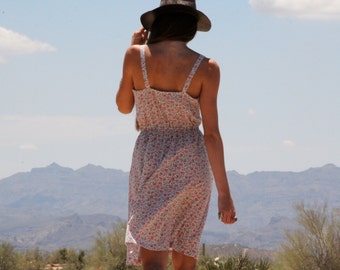 Vtg 80s floral sun dress with pockets