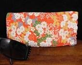 Vintage Japanese kimono silk crepe fabric  eye-wear case- eye glass case - sunglass case with flex frame - red floral