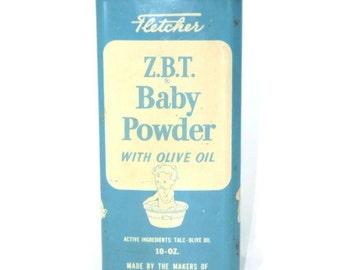 Large Vintage ZBT Baby Powder Tin Blue Advertising 10 oz