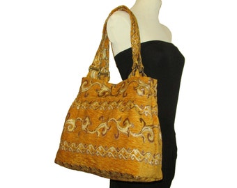 124- bag, purse,color yellow patterned, handmade