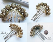 Vintage Payneta Peineta Ornamental Filigree Hair Comb with Tamborin Beads in Gold-plated Silver from the Philippines 1950s to 60s
