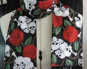 Skull and roses cotton scarf with black fringe