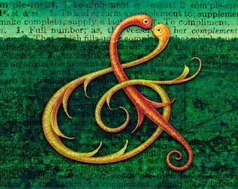 ACEO Ampersand, Curiotype: Punctuation painting mini print, Vocabulary words, Weird lettering art, Odd love creatures, Curious calligraphy