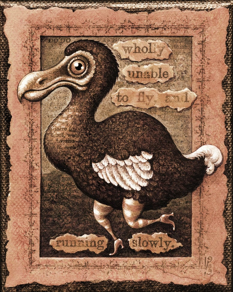 Funny sad dodo art print sepia Running Slowly Tincture: