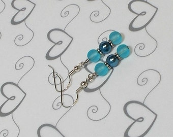 Teal Pearl With Sea Glass Bead Wedding Party Drop Earring