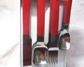 6 Sets of Flatware on Caddy - Red