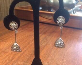 Vintage antique dangle rhinestone drop earring wedding bridal free shipping