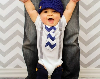 Chevron Baby Boy Tie Bodysuit with Suspenders, Button Crocheted Hat and Button Leggings- Little Man, Chevron, Photo Prop