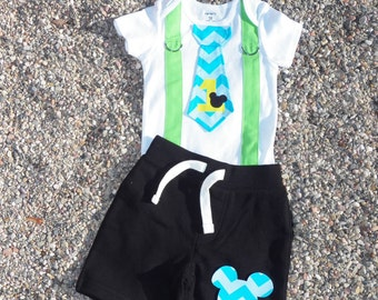 Baby Mickey Mouse 1st Birthday Tie and Suspender Bodysuit with Shorts -  Baby Boy Birthday Clothing