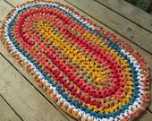 Tropical Sunset Rug Crochet Rag Rug Oval Medium Cotton Washable Soft Handmade Bathmat Kitchen Porch Beach Country Bright Orange Yellow Teal