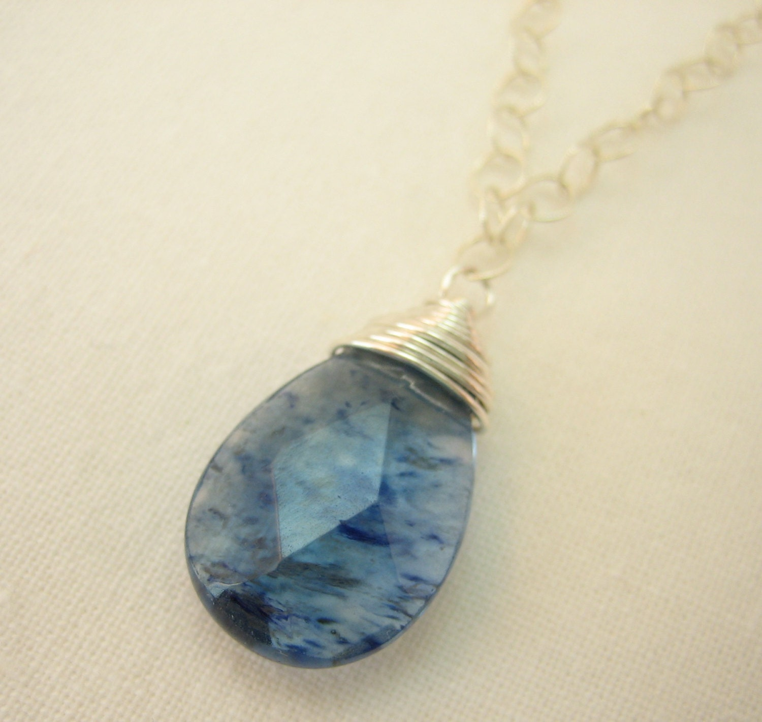 Simple Sterling Silver Necklace with Wire Wrapped Blue Quartz Gemstone Pendant -gift for her