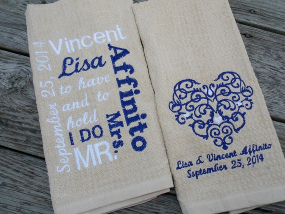 Wedding Kitchen Towel Set, Wedding Gift, Cotton Anniversary Gift, 2nd ...