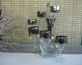 Vintage Silver Ombre Decanter and Wine Glass Set, Mid Century Modern Barware