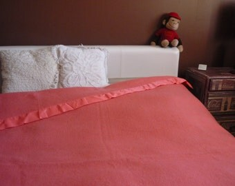 Vintage Canadian Wool Blanket with Satin Edging, Coral Pink Camp Blanket