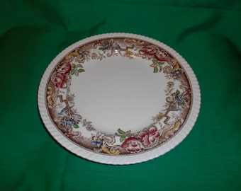 "One (1), 10"" Dinner Plate, from Johnson Bros., in the Devonshire-Brown-Multicolor Pattern."