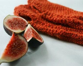 Orange fingerless gloves, womens alpaca knit wrist warmers