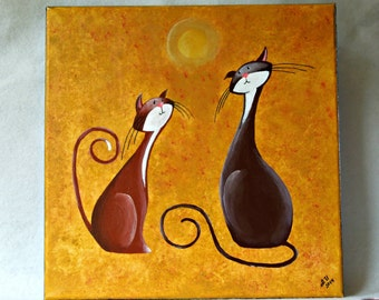 """Original Fantasy Cat Acrylic Painting for Sale """"Two Cheerful Cats"""""""