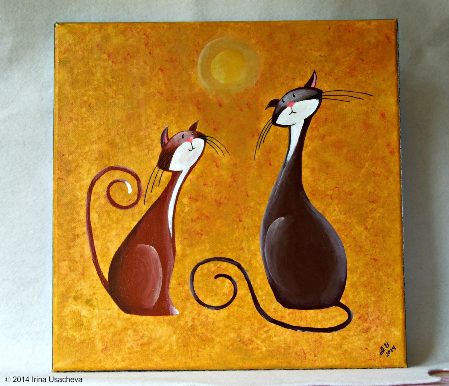 original fantasy cat acrylic painting for sale two