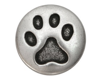 30 Cat Paw Metal Shank Buttons 3/4 inch ( 20 mm ) inch Antique Silver