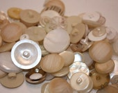 Vintage Lot Of 200 Clear, White, Off White, Cream, and Irridescent Buttons, Small and Large Great for Crafts, sewing, design, repairs-Supply