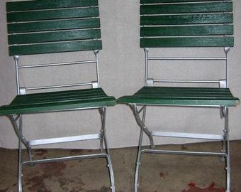 Pair of French Bistro European Grande Café Folding Chairs, Teak Slats, Steel Frame