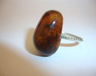 Amber Baltic Ring - Size 8.5 - Genuine Vintage 3.66 Gr Dark Cognac Color Old Nizilber (SR032)