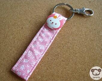 Bunny, Rabbit, Pink, Keychain, key chain, poka dot, dot, girl, kid, coloful, decoration, kawaii, strap, book, cartoon, cute, clasp, fun