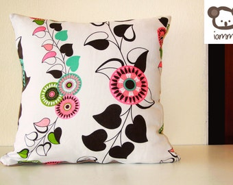 Pillow cover, pillow case, flower, modern, flowers, white, black, pink, green, blue, cozy, cotton, home, house, decor, decoration, zipper