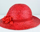 Vintage Red Straw Hat with Flowers