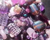 50% OFF SALE Prissy Plum Glass, Pearl Plastic Bead Sampler Mix 50 Piece Set 4-30mm