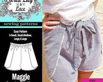 WRAP SHORTS PATTERN- #307 Maggie Shorts pdf sewing pattern