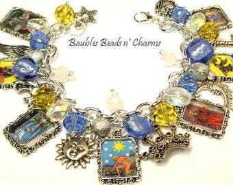 Tarot Cards Charm Bracelet, Fortune Teller Charm Bracelet, Photo Charm Bracelet, Picture Charm Bracelet