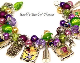Wine Lovers Charm Bracelet, French Wine Italian Wine Themed Charm Bracelet, Wine Tasters Charm Bracelet
