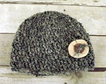 Basic Beanie Hat with Rustic Wood Button - Men or Women - Black and Gray Wool Blend