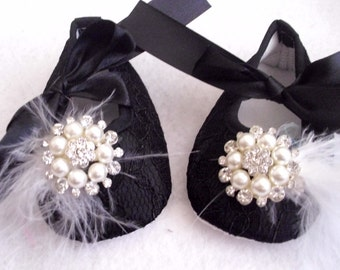 Black Lace Baby Girl Crib Shoes with  or without Crystal and Pearls Buttons, Feathers