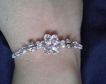 Crystal  Bracelet for Bride or Bridesmaids with Silver Chain