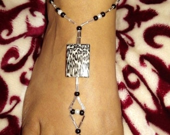 Black and White Leopard Animal Print Pearl abd Crystal Barefoot Sandals