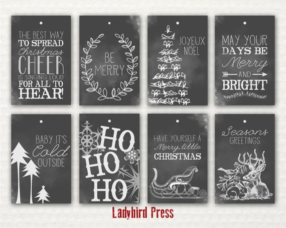 Printable Christmas Tags - Chalkboard Christmas Tags - Rustic Gift ...